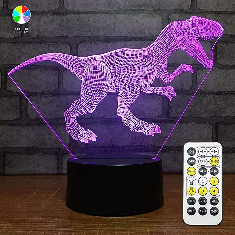 Dinosaur Night Light With Dimmable Timer Remote Touch Control Roarivores Allosaurus Toys Lamp 7 Color Changing Nightlights For Boys Birthday Christmas Gift Home Decoration
