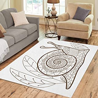 Semtomn Area Rug 3' X 5' Adult Coloring Page Cute Snail Whimsical Line for Colouring Home Decor Collection Floor Rugs Carpet for Living Room Bedroom Dining Room