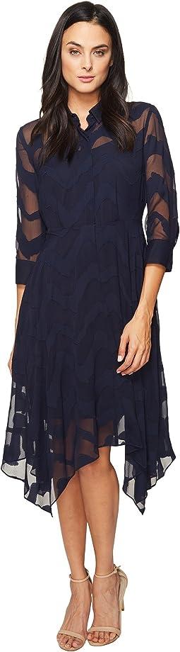 Chiffon Jacquard Shirtdress with Handkerchief Hem
