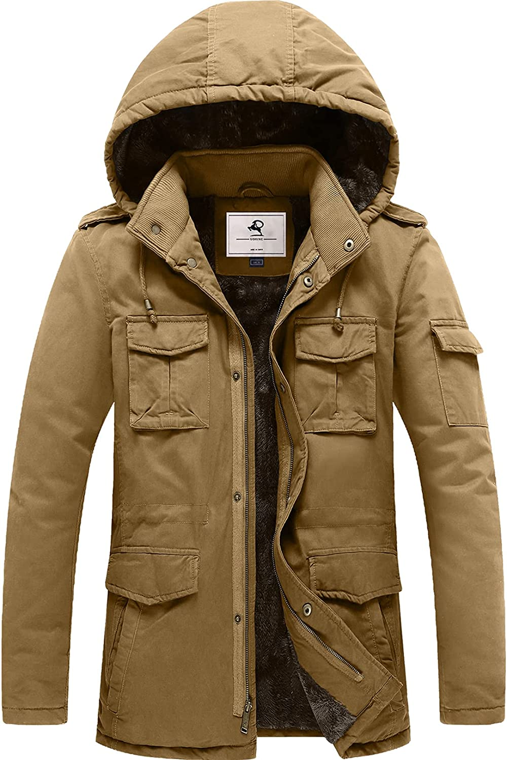 Daily bargain sale Uoiuxc Men's Indianapolis Mall Winter Military Jacket Hooded Fur Faux Lined Warm C