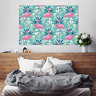 SfeatruAngel_SOSUNG Framed Wall Art Canvas Painting,Tropical Flamingo Seamless(24