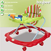 Baybee Baby Walker Round Kids Walker for Babies Cycle with Adjustable Height and Musical Toy Bar Rattles and Toys Ultra Soft Seat-Activity Walker for Kid and Wheel 6 Months to 2 Years (Green&Red)