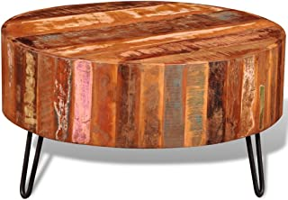 Festnight Round Coffee Table Reclaimed Wood End Side Table with Iron Legs Pure Handmade Living Room Home Furniture 28