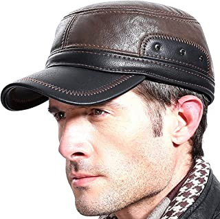 Men Winter Leather Fur Baseball Newsboy Cap Ear Flap Trapper Hunting Hat