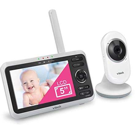 """VTech VM350 Video Monitor with Battery Supports 12-hr Video-Mode, 21-hr Audio-Mode, 5"""" Screen, 1000ft Long Range, Bright Night Vision, 2-Way Talk, Auto-on Screen, Lullabies"""