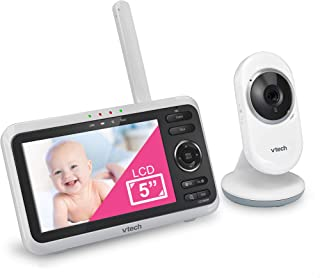 "VTech VM350 Video Baby Monitor with 5"" Screen, Long Range, Invision Infrared Night Vision, Two Way Talk, Auto On Screen, S..."