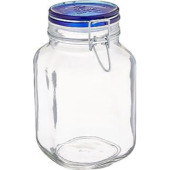 Bormioli Rocco Fido Square Jar with Blue Lid, 67.5-Ounce