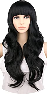 NEW Women Ladies Natural Long Wavy Wig Black Light Brown Dark Brown 68 Cm Synthetic Hair Wigs,Natural Black,28inches