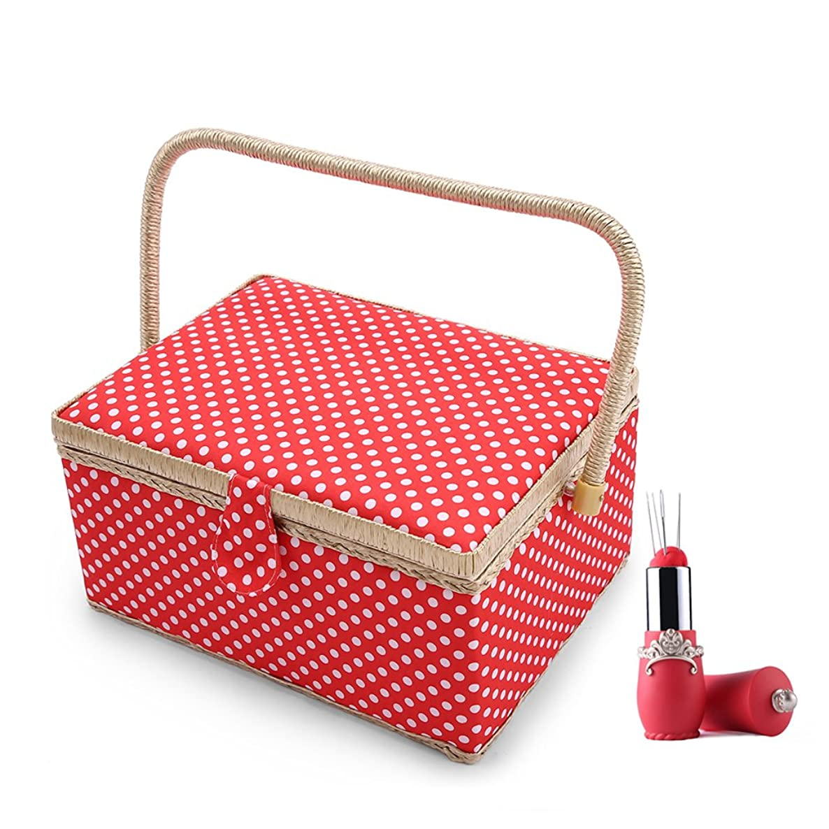 SAXTX Polka Dot Large Sewing Basket Organizer with 100pcs Accessories| Home Essentials Sewing Kit Box for Quilting Embroidery | 12 1/5 x 9 x 6 1/3 inches|Red