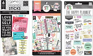 me & my BIG ideas Create 365 The Happy Planner Sticker Value Pack, Productivity, 985 Stickers PPSV-09 & Fitness Stickers PPS 64 & Pocket Pages Stickers 6 Sheets/Pkg-Love Yourself (3 Item Bundle)