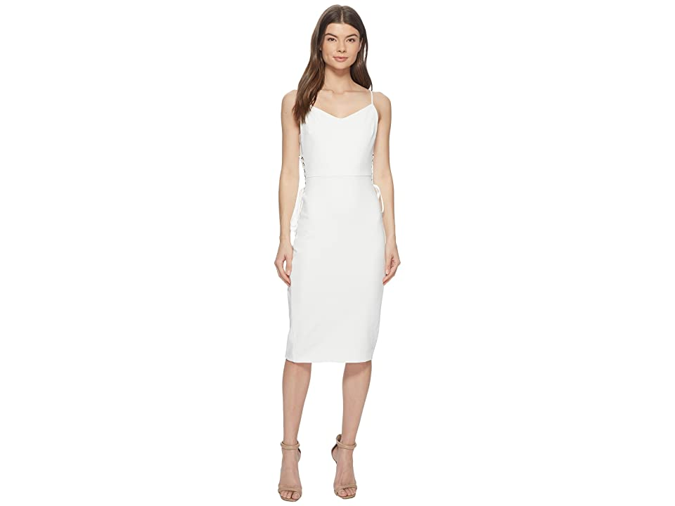 1.STATE Spaghetti Strap Slip Dress w/ Lace-Up (New Ivory) Women