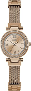 Guess Women's Rose Gold Dial Stainless Steel Band Watch - W1009L3