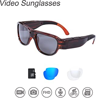 OhO sunshine THB588F OHO Video Sunglasses, 16GB Ultra HD Outdoor Sports Action Camera with Built in 16MP Camera and Polarized UV400 Lens, Compatiable with Prescription Lens (1920x1080)