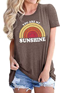 Women You are My Sunshine Letter Printed Rainbow Graphic Tee Casual T-Shirt Round Neck Short Sleeve Tops