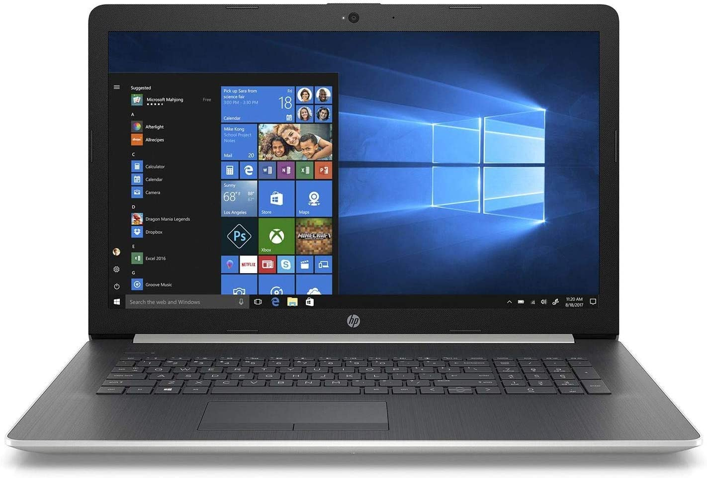 "HP 17.3"" HD+ SVA WLED-Backlit Notebook Laptop, Intel Core i5-8250U up to 3.4GHz, 24GB Memory: 16GB Intel Optane + 8GB DDR4, 2TB HDD, DVD, Webcam, Backlit Keyboard, Bluetooth, Windows 10 Home, Silver"
