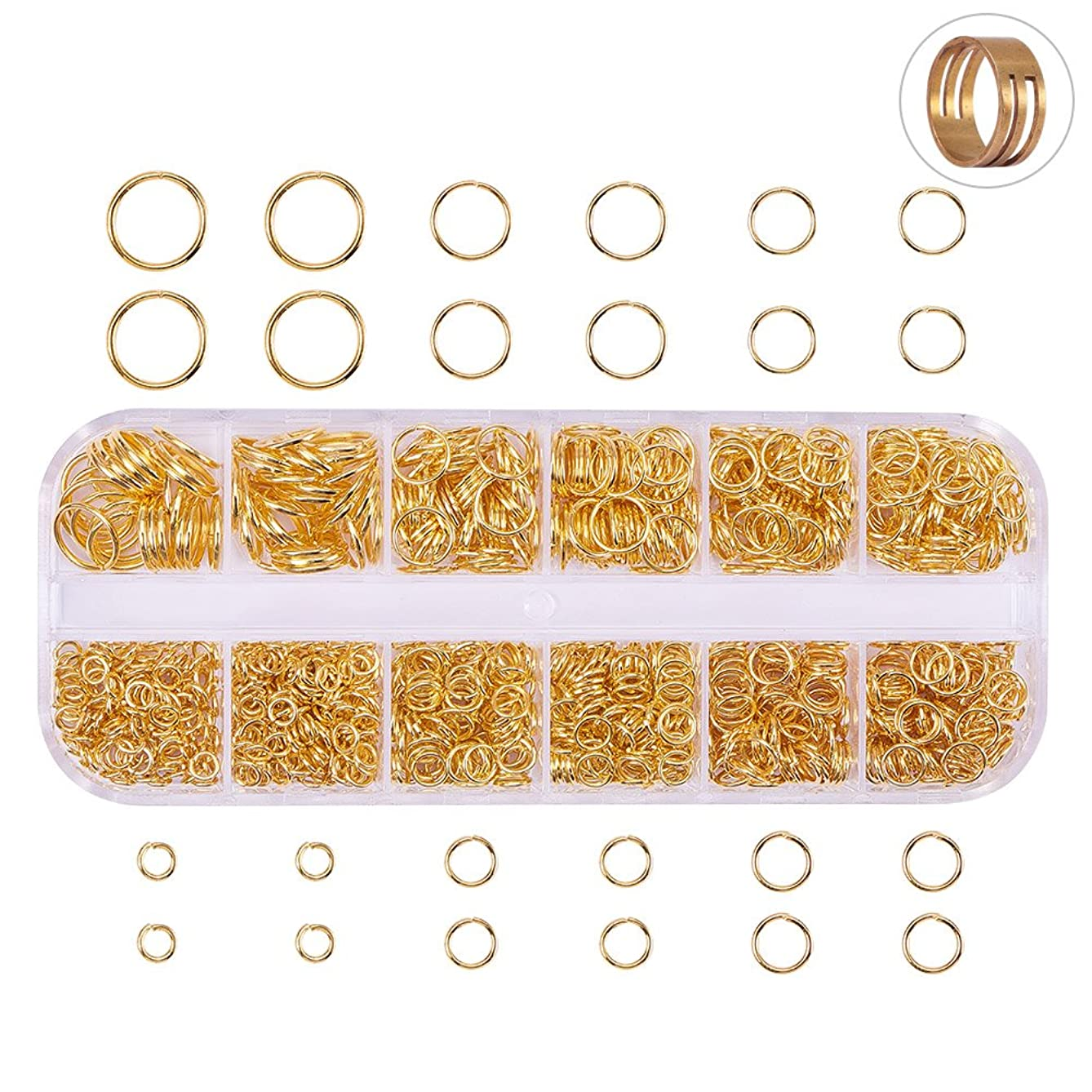 PH PandaHall 800 Pcs Outer Diameter 4-10mm Open Jump Rings for Jewelry Making Gold