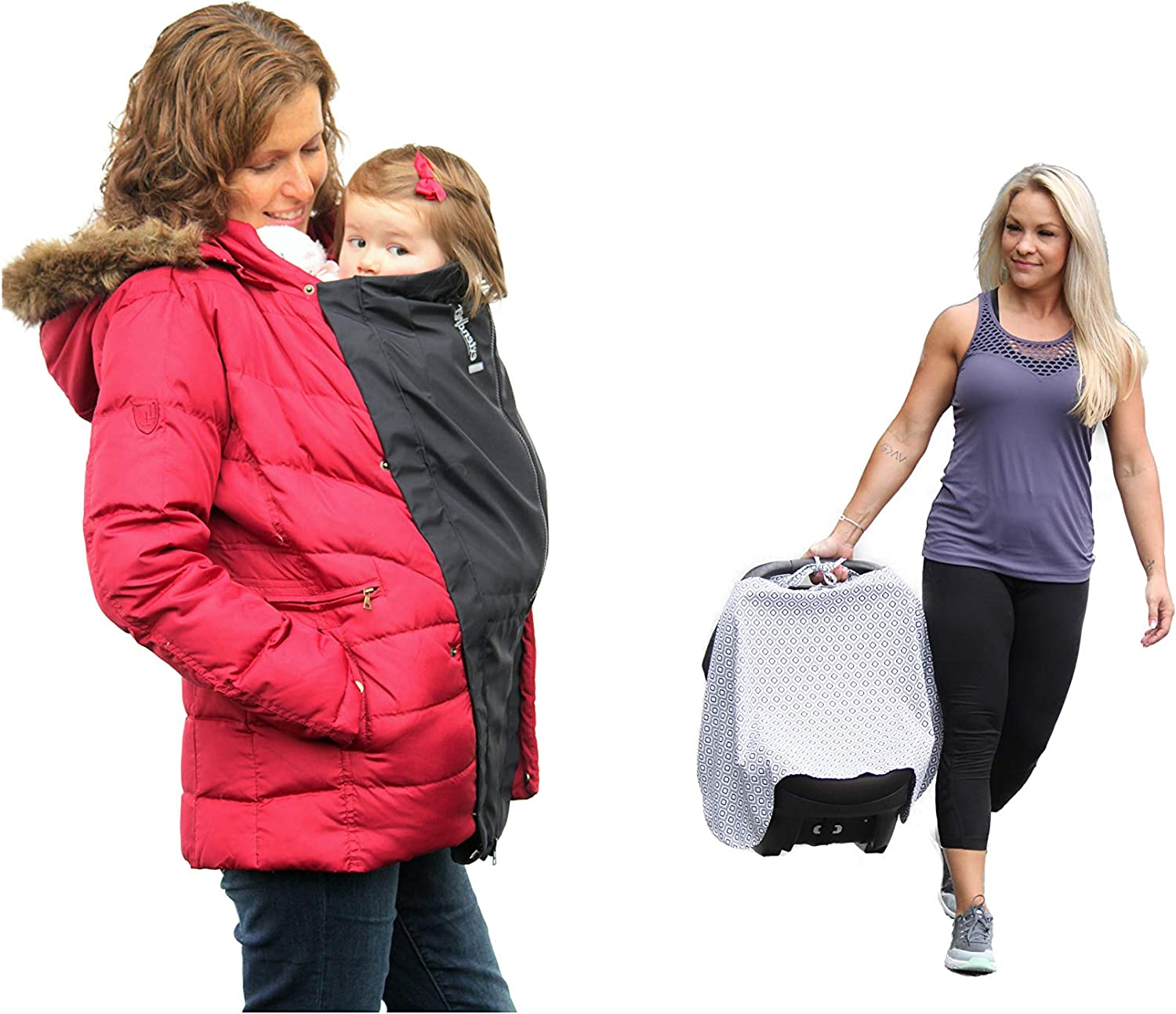 Extendher Maternity Coat Alternative + Baby Cover. Jacket Extender Lined with Polartec Fleece, Nylon Outer Shell, for Zip Up Coats + CoverUp for Babywearing, Nursing, Stroller & Car Seat (Black)