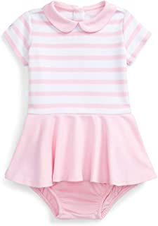Ralph Lauren Baby Girl Ponte Dress & Bloomer 2 Piece Set (White(522787)/Carmel Pink, 9 Months)