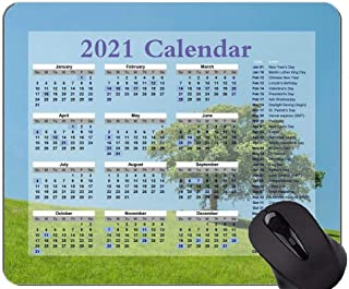 2021 Calendar Mouse Pad,Hill Lonely Tree Green Personalized Rectangle Gaming Mouse Pads