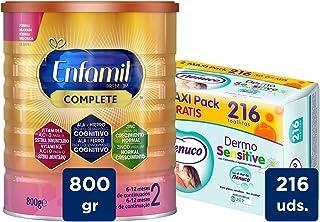 Enfamil Complete 2 Leche Infantil de Continuacion para Lactantes Bebés de 6 a 12 Meses - 800 gr + Nenuco Dermosensitive - Toallitas bebé para Pieles Sensibles, Sin Alcohol - 216 unidades