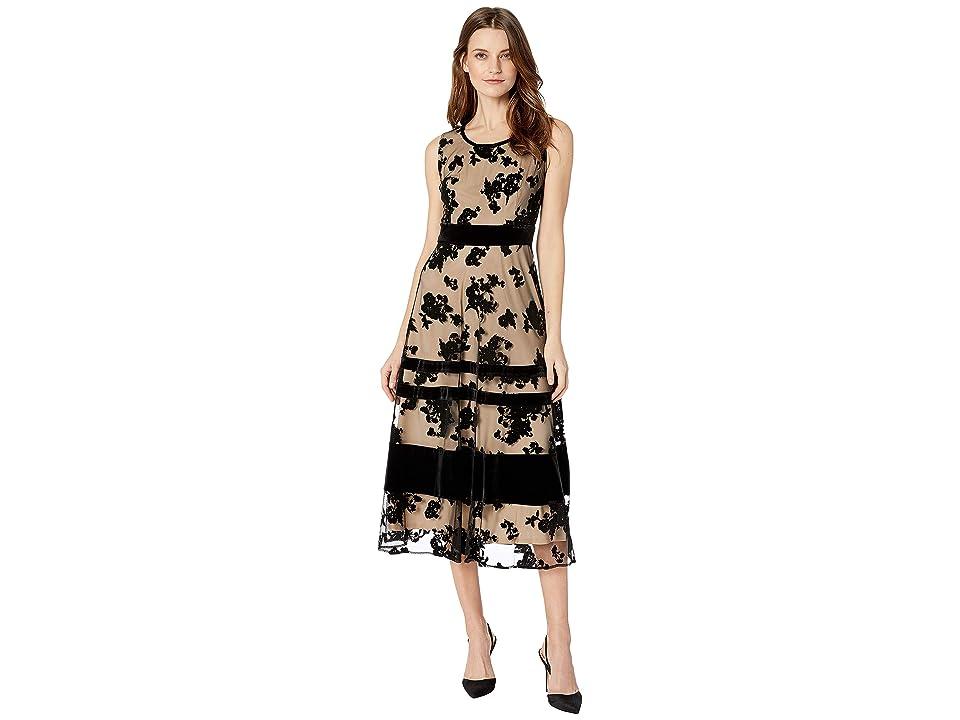 Taylor Sleeveless Velvet Mesh Maxi Dress (Black/Nude) Women