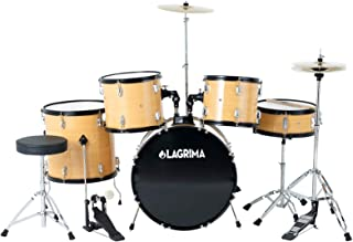 LAGRIMA Full Size Complete Adult 5 Piece Drum Set with Adjustable Throne, Cymbal, Pedal & 2 Drumsticks, Yellow Color, 22 inch