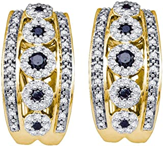Mia Diamonds 10k Yellow Gold Black Color Enhanced Diamond Womens Womens Cocktail Omega-back Luxury Hoop Earrings (.77cttw) (I2-I3)