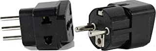High Quality US to ITALY Travel Adapter Plug for USA/Universal to EUROPE Type E (C/F) & L AC Power Plugs Pack of 2
