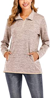 Women's Stand-up Collar Sweatshirt Long Sleeve Zipper Pullover Tops with Pockets