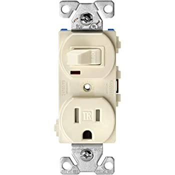 EATON Wiring TR291W 15 Amp 120V 5-15 3-Wire Combination Receptacle /& Toggle Switch White