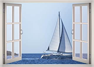 Sail Water View Window 3D Wall Decal Art Removable Wallpaper Mural Sticker Vinyl Home Decor West Mountain W70 (LARGE (49''W x 35''H))