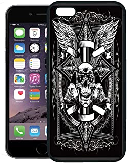 Semtomn Phone Case for iPhone 8 Plus case,Biker Vintage Label Skull and Ornate Christian Cross Dagger Knife Black Brass iPhone 7 Plus case Cover,Black