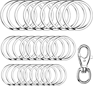 Yinghezu 30 Pieces + 1 Pieces Metal Swivel Clasps, Nickel Plated Silver Round Flat Key Chain Rings Metal Split Ring for Home Car Keys Organization, 3/4 Inch, 1 Inch and 1.25 Inch, (Silver)