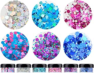 HITOP Cosmetic Glitter for Nail Face and Body,6 Colors 113g 3.99oz Holographic Chunky Glitter for Crafts Resin Tumblers Ha...