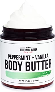 Peppermint Vanilla Whipped Body Butter - Hydrating Cream for Dry Skin with Shea Butter - Scented with 100% Pure Essential Oils - Paraben Free, Non Greasy, No Synthetic Fragrances - 8 oz