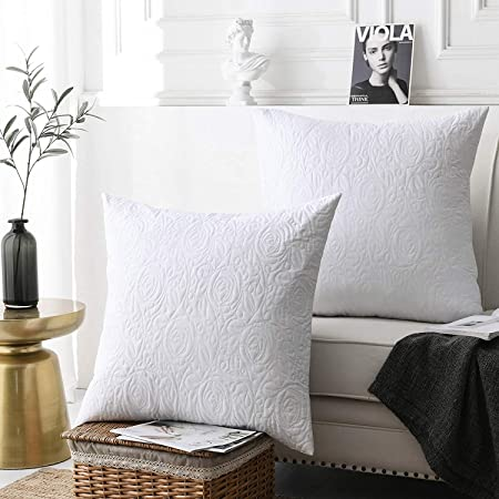 Marcielo 2 Pack Throw Pillow Covers Euro Sham Covers 24 X24 White Home Kitchen