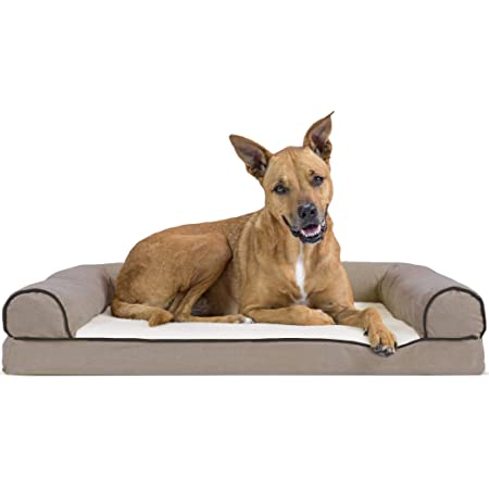 Furhaven Pet Dog Bed - Orthopedic Faux Fleece and Chenille Soft Woven Traditional Sofa-Style Living Room Couch Pet Bed with Removable Cover for Dogs and Cats, Cream, Large