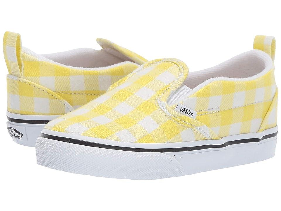 Vans Kids Slip-On V (Toddler) ((Gingham) Blazing Yellow/True White) Girls Shoes