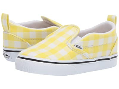 Vans Kids Slip-On V (Toddler) ((Gingham) Blazing Yellow/True White) Girls Shoes