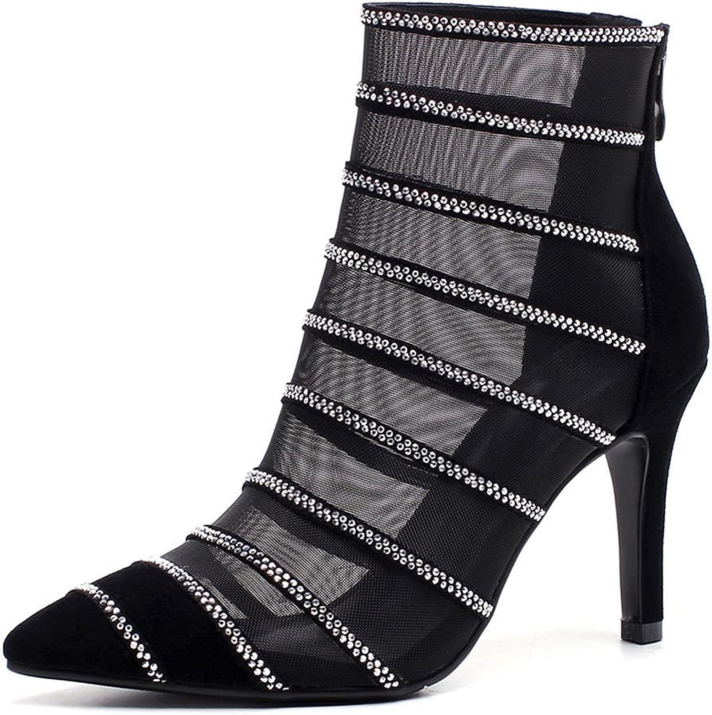 ROLISA Women's Diamonds Bling Suede Mesh High Heel Ankle Boots