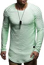 Leif Nelson Mens Pullover Long Sleeve t-Shirt Sweater Slim fit Sweatshirt Hoodie Mint Medium