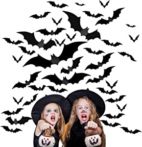 60 Pcs Halloween 3D Bats Wall Decorations, Halloween Indoor Goth Room Home Decor Ornaments Batman Birthday Party Supplies Vintage Wall Decal Wall Sticker, 4 Sizes