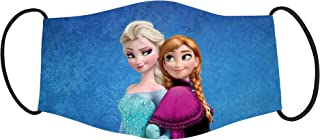Vista ELSA & Anna Cartoon Characters Printed Mask for Kids - Cotton Reusable Washable Mask Size 18x10cms