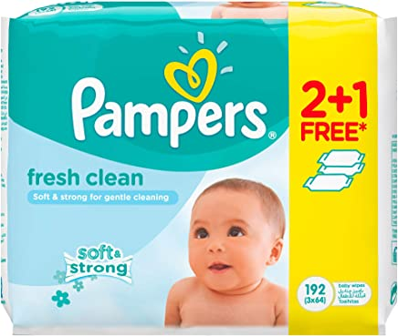 Pampers Fresh Clean Baby Wipes, 2+1, 192 count