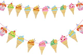 Ice Cream Banner DIY Paper Garland for Kids Birthday Party Baby Showers Summer Party Decoration 2 Pack