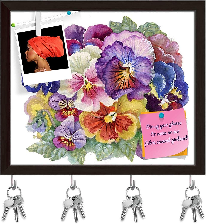 Artzfolio purple Tricolor Key Holder Hooks   Notice Pin Board   Dark Brown Frame 19 X 16Inch