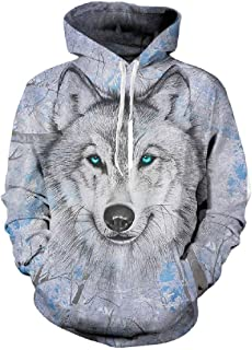 9YOULOVE 3D Sweatshirts Animal Wolf Hoodies Mens Hoody Unisex Cool Pullover Hooded