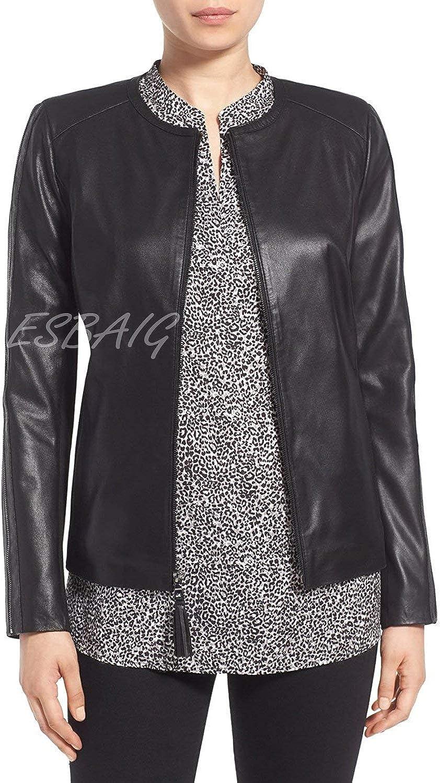 ESBAIG Womens Leather Jackets Stylish Motorcycle Bomber Biker Real Lambskin Leather Jacket for Women 531