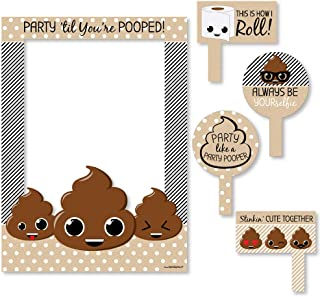 Big Dot of Happiness Party 'Til You're Pooped - Poop Emoji Party Selfie Photo Booth Picture Frame & Props - Printed on Sturdy Material