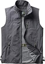 Yimoon Mens Outdoor Lightweight Breathable Quick-Drying Mesh Vest Waterproof Hooded Sports Vest Jacket